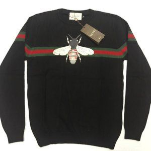GUCCI MEN ANIMAL DETAILS BLACK CASUAL SWEATER